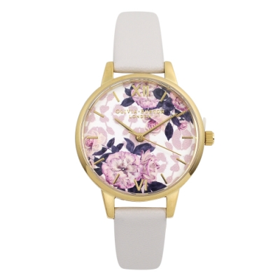 Olivia Burton 英倫復古手錶 野生花卉 米褐色真皮錶帶金框30mm