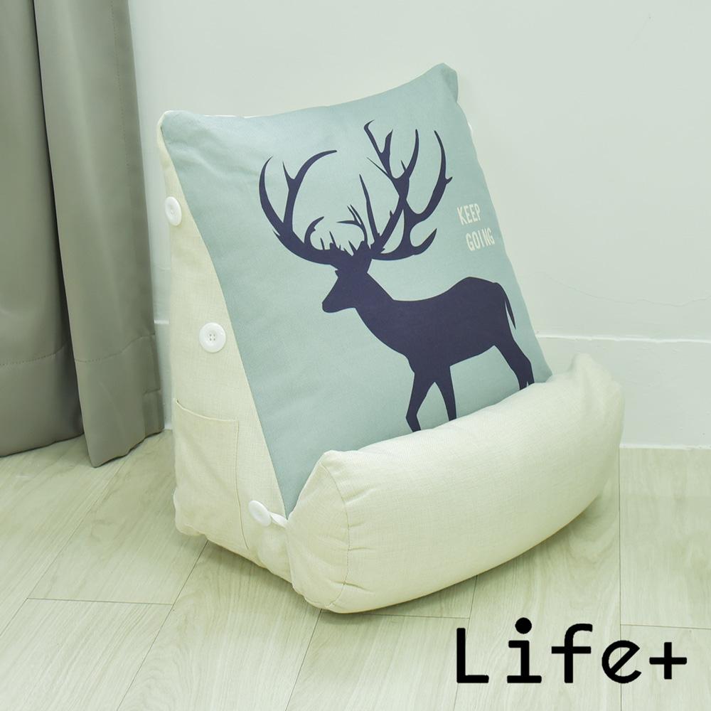 Life Plus 寂靜自然 舒壓萬用棉麻靠枕/抱枕/腰靠枕 (藍底鹿)