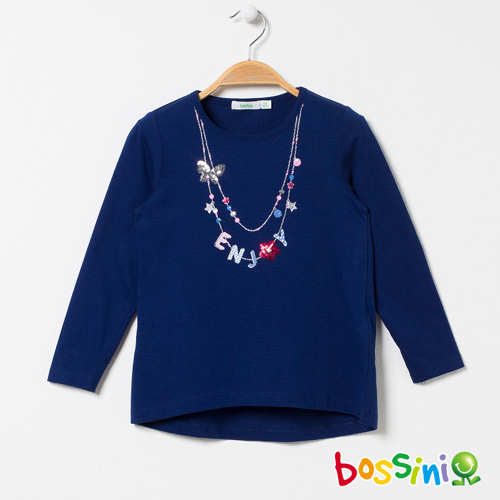 bossini女童-純棉圓領長袖T恤03海軍藍