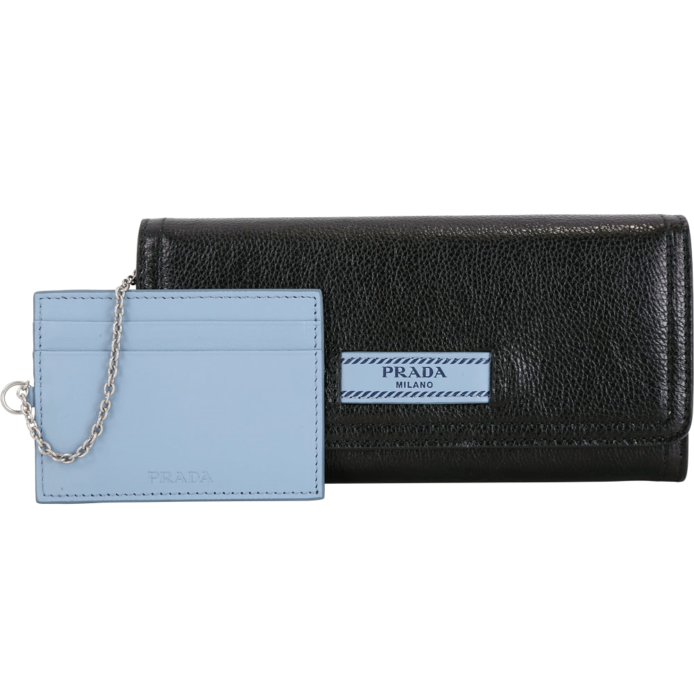 PRADA Etiquette 標籤設計附證件夾小牛皮釦式長夾(黑色)PRADA