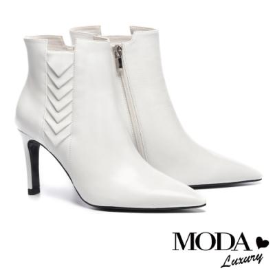 短靴 MODA Luxury 極簡摩登幾何造型全真皮高跟短靴-白