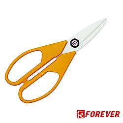 FOREVER 日本製造鋒愛華銀抗菌陶瓷剪刀_白刃橘黃柄