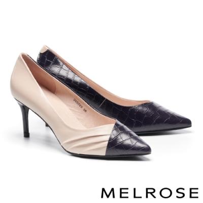 高跟鞋 MELROSE 經典俐落壓紋異材質皺褶尖頭高跟鞋-粉
