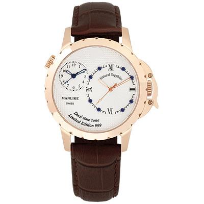 Manlike 曼莉萊克 藍寶石兩地時區限量腕錶【玫色/咖皮/白面】