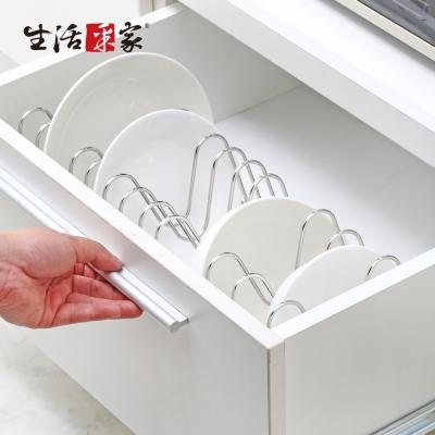 生活采家台灣製304不鏽鋼廚房伸縮碗盤鍋蓋架