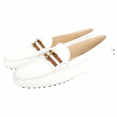 TOD'S Timeless T字金屬配色織帶牛皮休閒豆豆鞋(白色)