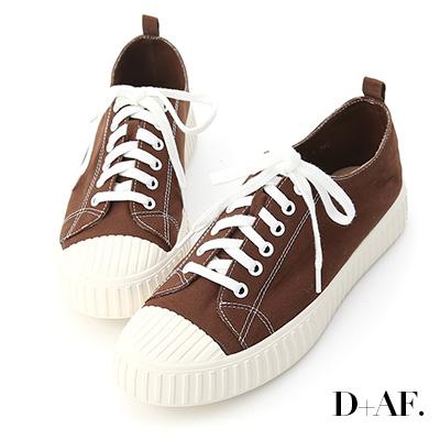 D+AF 玩色趣味.多色帆布休閒餅乾鞋*咖