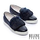 休閒鞋 HELENE SPARK 奢華兔毛全真皮厚底休閒鞋-藍