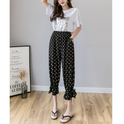 2F韓衣-簡約束帶舒適造型寬褲-3色-(S-2XL)