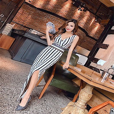 DABI 韓國風黑白條紋深V名媛禮服側開叉修身無袖洋裝