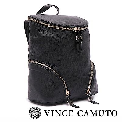 VINCE CAMUTO 柔軟真皮革拉鍊後背包-黑色