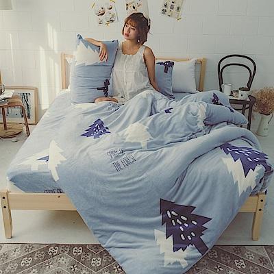 AmissU 北歐送暖法蘭絨雙人兩用被套毯 藍光森林