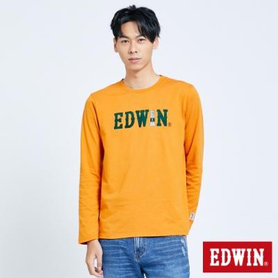 EDWIN 塗鴉LOGO 薄長袖T恤-男-桔黃色