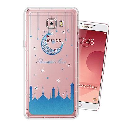Samsung Galaxy C9 Pro 奧地利水晶彩繪空壓手機殼(月彎星辰)