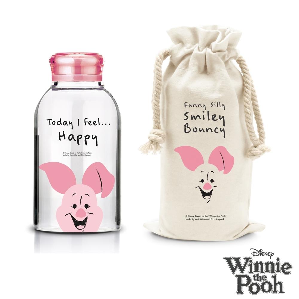 迪士尼Disney 微笑小豬耐熱玻璃瓶袋組 620ml (快)
