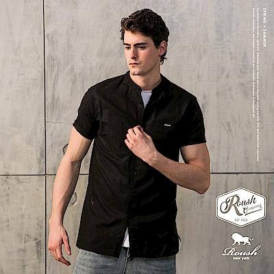Roush 基本款亨利領亞麻素面短袖襯衫(4色)