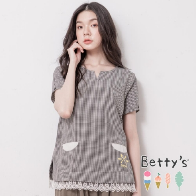 betty's貝蒂思 千鳥格紋拼接蕾絲上衣(黑色)