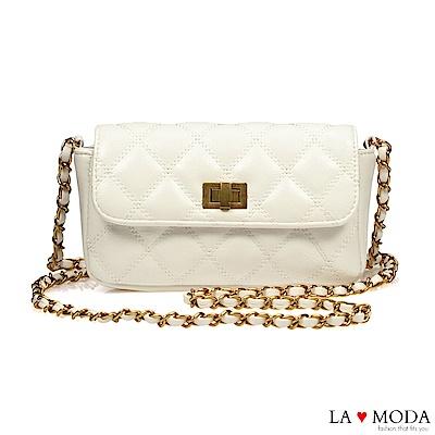 La Moda 人氣小香風菱格紋旋釦肩背斜背鍊條包(白)