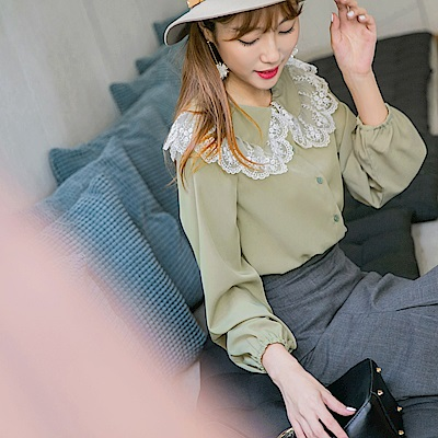 蕾絲拼接造型領純色襯衫-OB嚴選