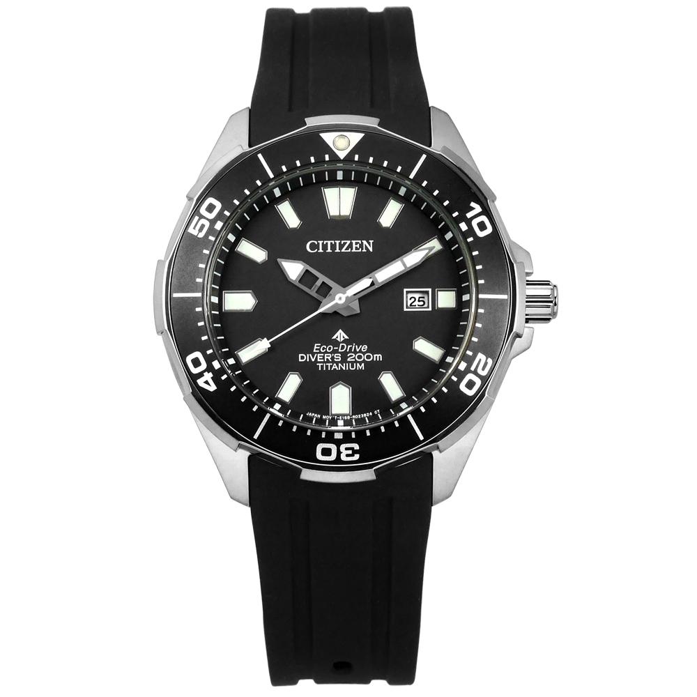 CITIZEN 光動能 潛水錶 日期視窗 防水200米 鈦金屬殼 矽膠手錶-黑色/44mm