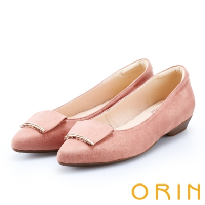 ORIN 優雅OL 絨面方版布飾低跟鞋-粉紅