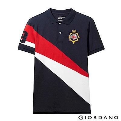 GIORDANO 男裝UNION JACK系列短袖POLO衫-38 藍/紅/白