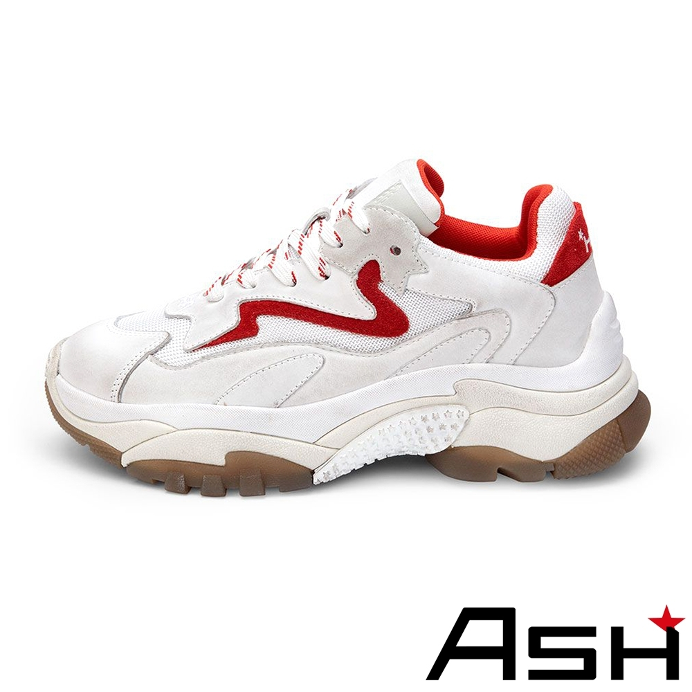 ASH-ADDICT系列時尚潮流休閒拼色刷舊增高老爹鞋-貝殼紅