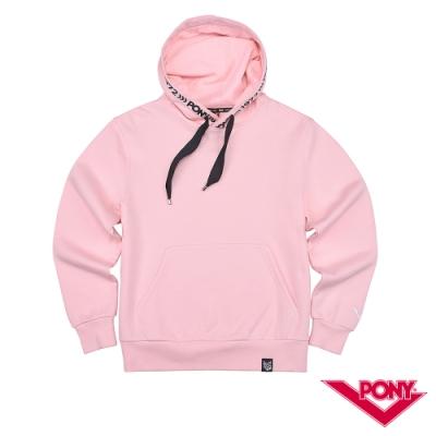 【PONY】長袖素色大學帽T  情侶款  T恤 中性款 粉紅色