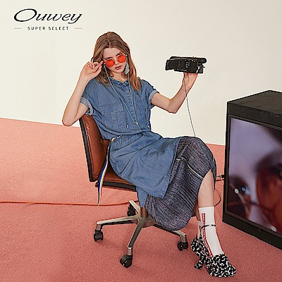 OUWEY歐薇 丹寧連帽抽繩長洋裝(藍)