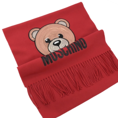 MOSCHINO 亮片小熊圖樣羊毛圍巾(紅)
