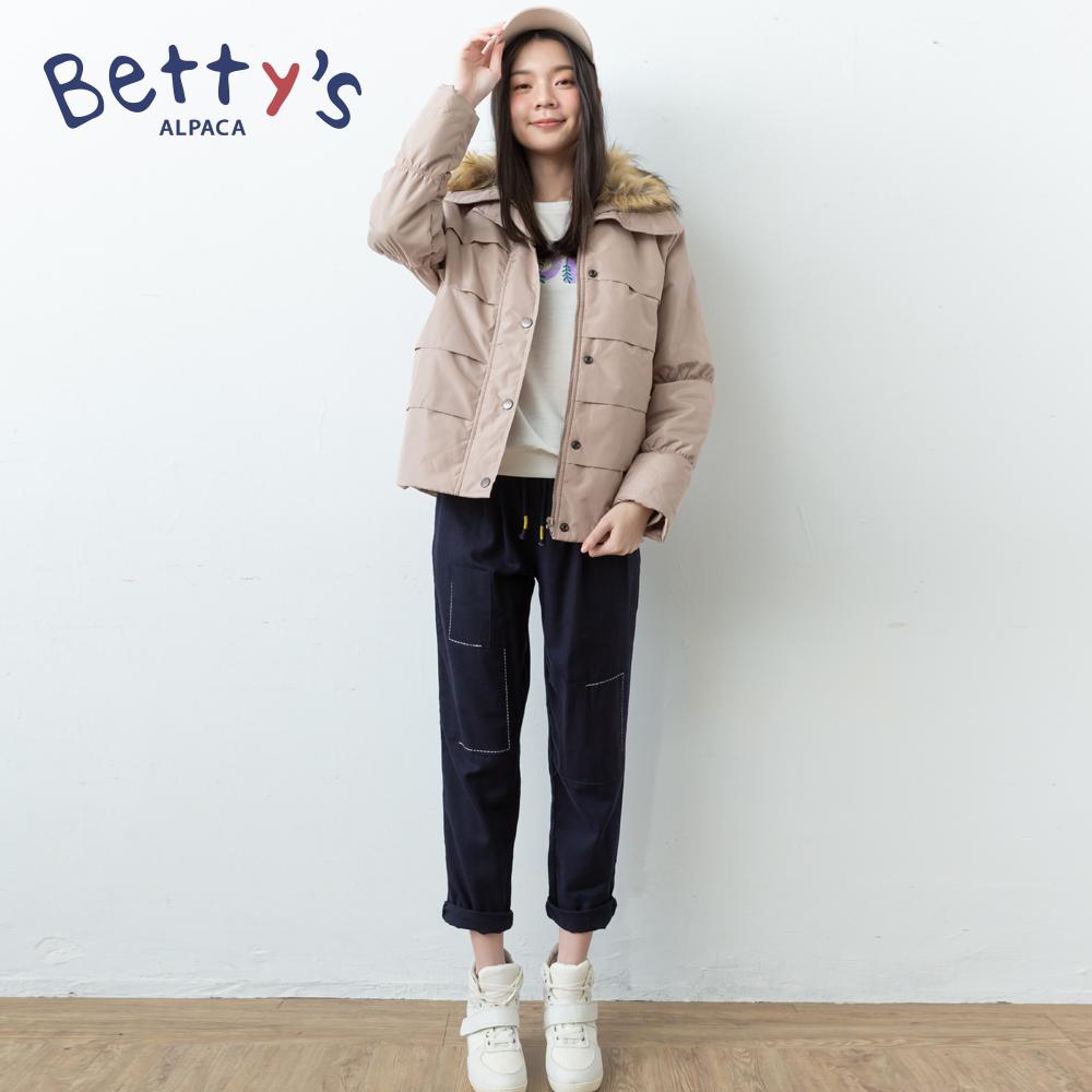 betty's貝蒂思 簡約繡線腰間鬆緊長褲(黑色) @ Y!購物