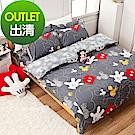 戀家小舖 / 雙人床包枕套組  米奇塗鴉  100%精梳棉  台灣製
