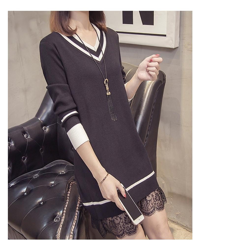 2F-韓系螺紋蕾絲針織連身裙-2色
