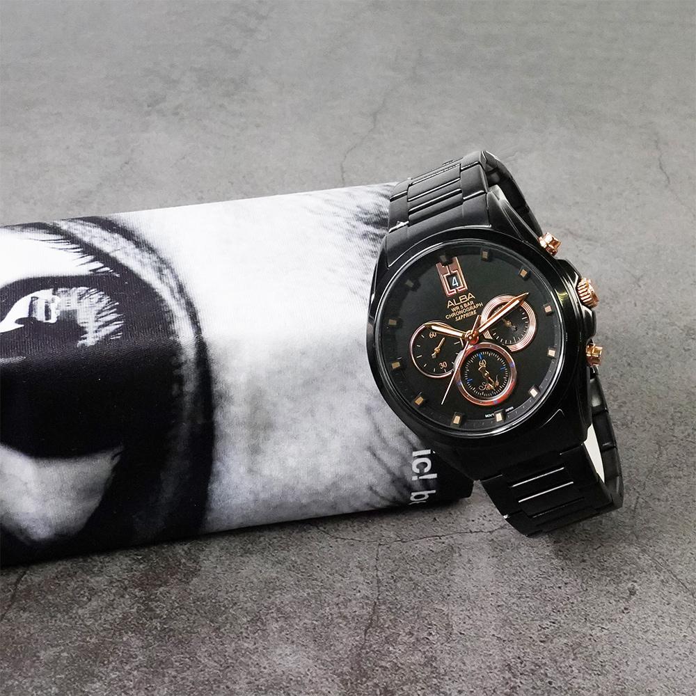 ALBA 台灣獨賣情人節限量計時腕錶(AT3B11X1)-黑/43mm