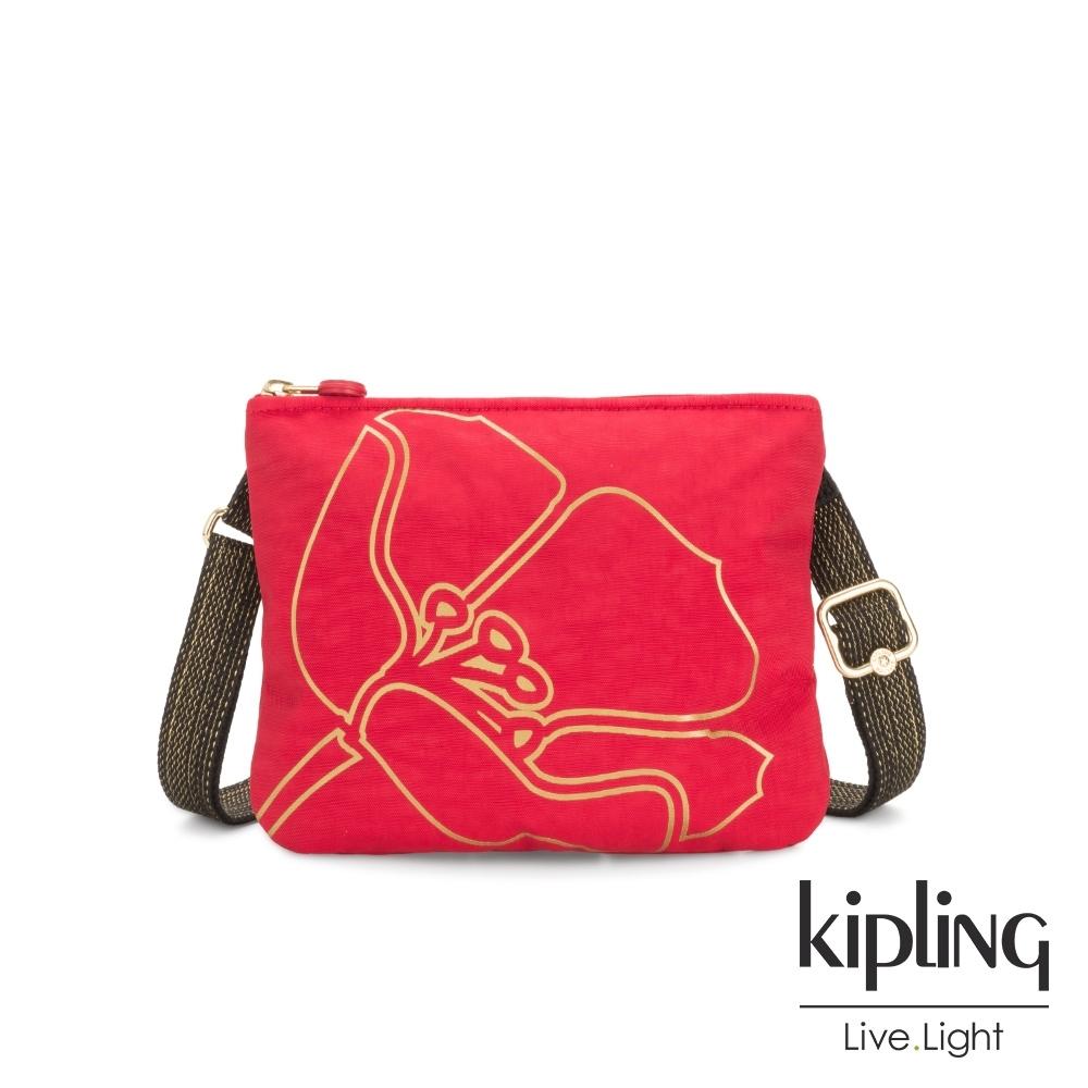 Kipling 捻紅金邊勾勒桃花側背方便小包-MAI POUCH
