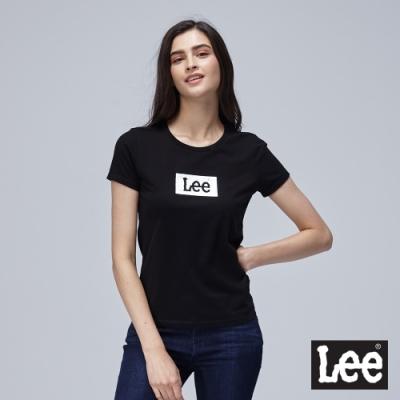 Lee短袖T恤 白底logo 圓領 黑 女