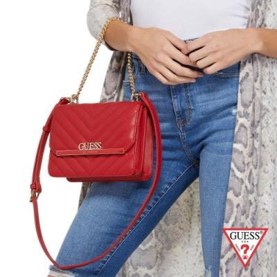 GUESS-女包-壓紋磁扣斜背方包-紅 原價2290