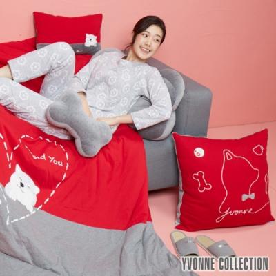 YVONNE COLLECTION 紳士剪影狗方形抱枕(60x60cm)-紅