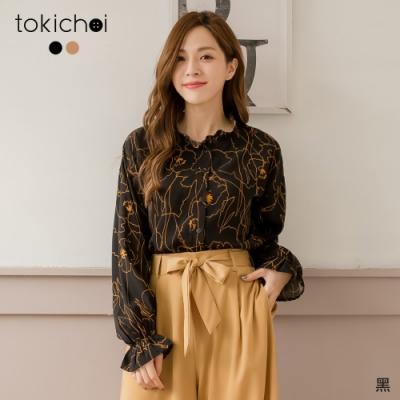東京著衣 高貴氣質印花喇叭袖襯衫-S.M.L