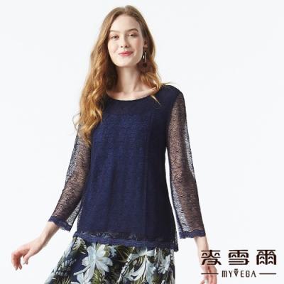 【麥雪爾】透膚小花蕾絲雙層設計上衣-深藍