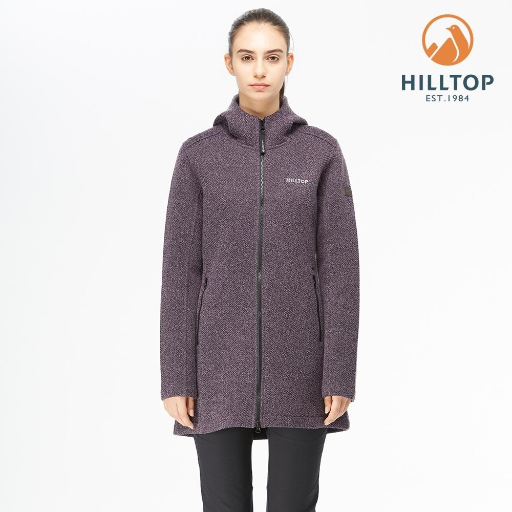 【hilltop山頂鳥】女款POLYGIENE抗菌 長版連帽刷毛外套H22FW1靛紫麻花