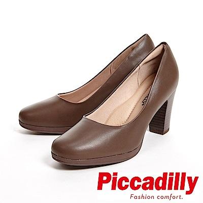 Piccadilly 專業上班族 霧面粗跟高跟女鞋-咖(另有黑)