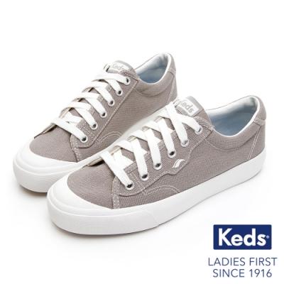 Keds CREW KICK 經典半月帆布綁帶休閒鞋-灰