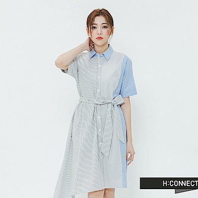 H:CONNECT 韓國品牌 女裝-條紋綁結不對稱洋裝-藍