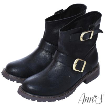 Ann'S古銅雙扣真皮羊皮小惡魔短靴