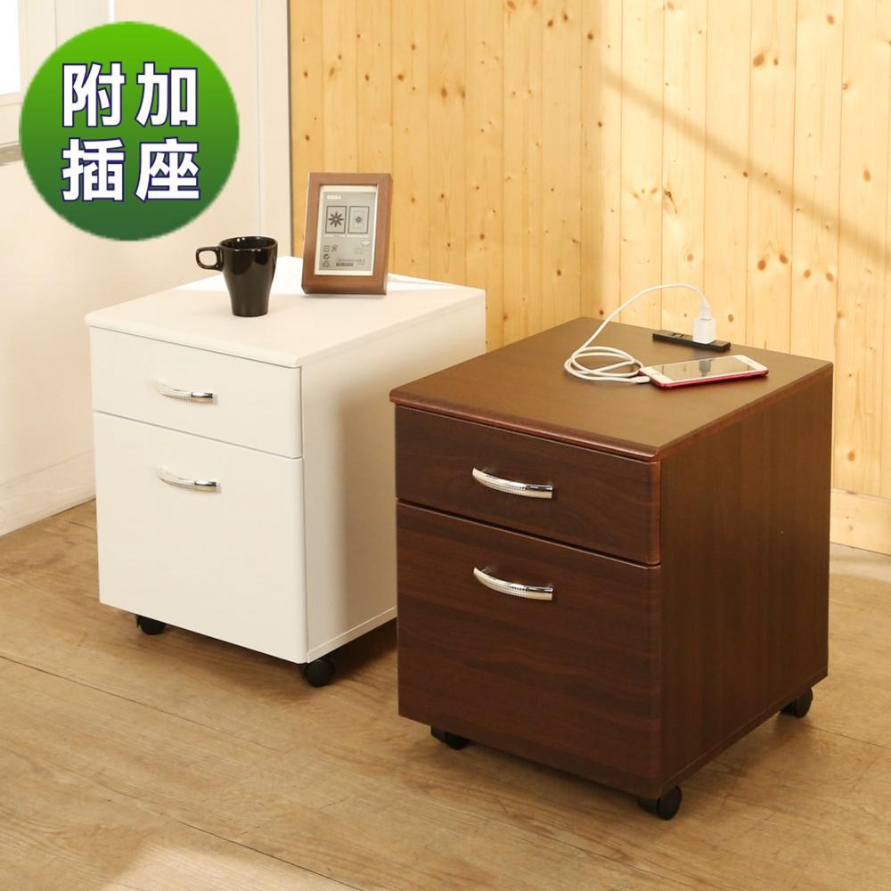 BuyJM無銳角低甲醛附插座二抽附輪活動櫃/檔案櫃40x45x47.5公分-DIY