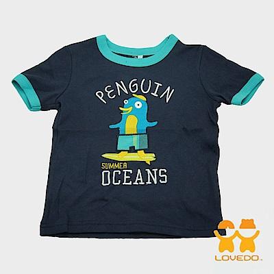 【LOVEDO-艾唯多童裝】快樂企鵝 拼布式短袖T恤 (深藍)
