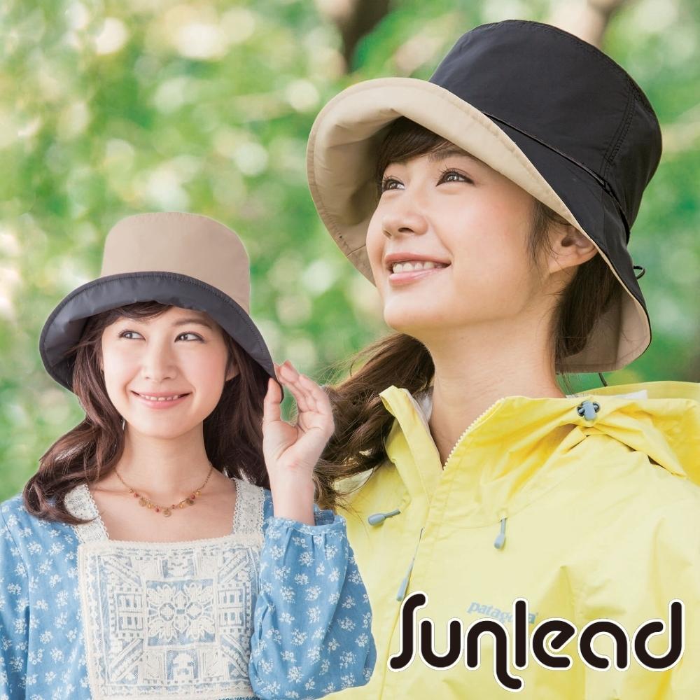 Sunlead 晴雨兩用款。防潑水抗UV雙面雙色可戴防曬軟帽 (黑色/駝色)