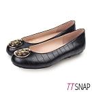 TTSNAP娃娃鞋-MIT率性鱷魚紋金屬飾釦平底鞋 黑