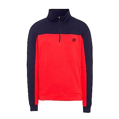 FILA 男款半門襟T恤-桔紅 1TES-5701-OR
